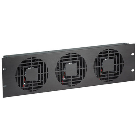 Quiet Fan Panel for Enclosed Server Rack - 3U, 3 Fans, 180 CFM
