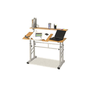 Adjustable Split-Level Drafting Desk, Medium Oak