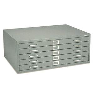 Five-Drawer Steel Flat File, 40-3/8w x29-3/8d x 16-1/2h, Gray