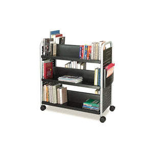 Scoot Double-Sided Steel Book Trolley with Six Shelves