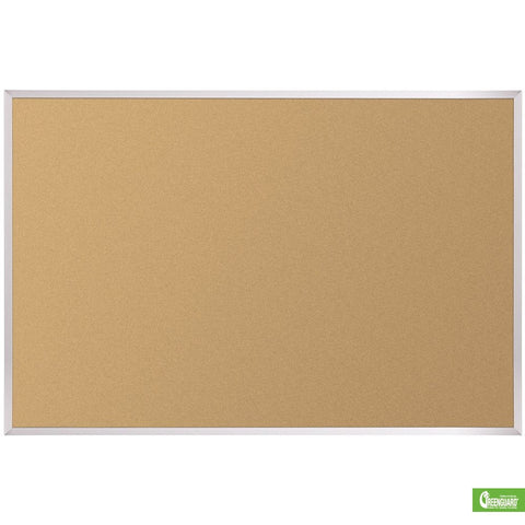 "Natural Cork Bulletin Board with Aluminum Trim 33.75"" x 4'"