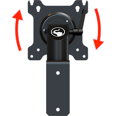 Short pivot and swivel wall mount with portrait to landscape rotation