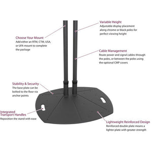 "72"" Dual Pole Floor Stand - Black"