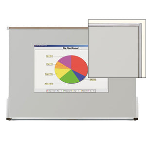 Ultra Trim Fixed Frame Whiteboard Projection Screen - 3 Sizes - Gray with Silver Trim