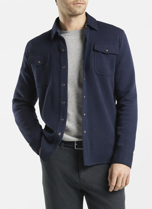 Cotton-Wool Interlock Shirt Cardigan