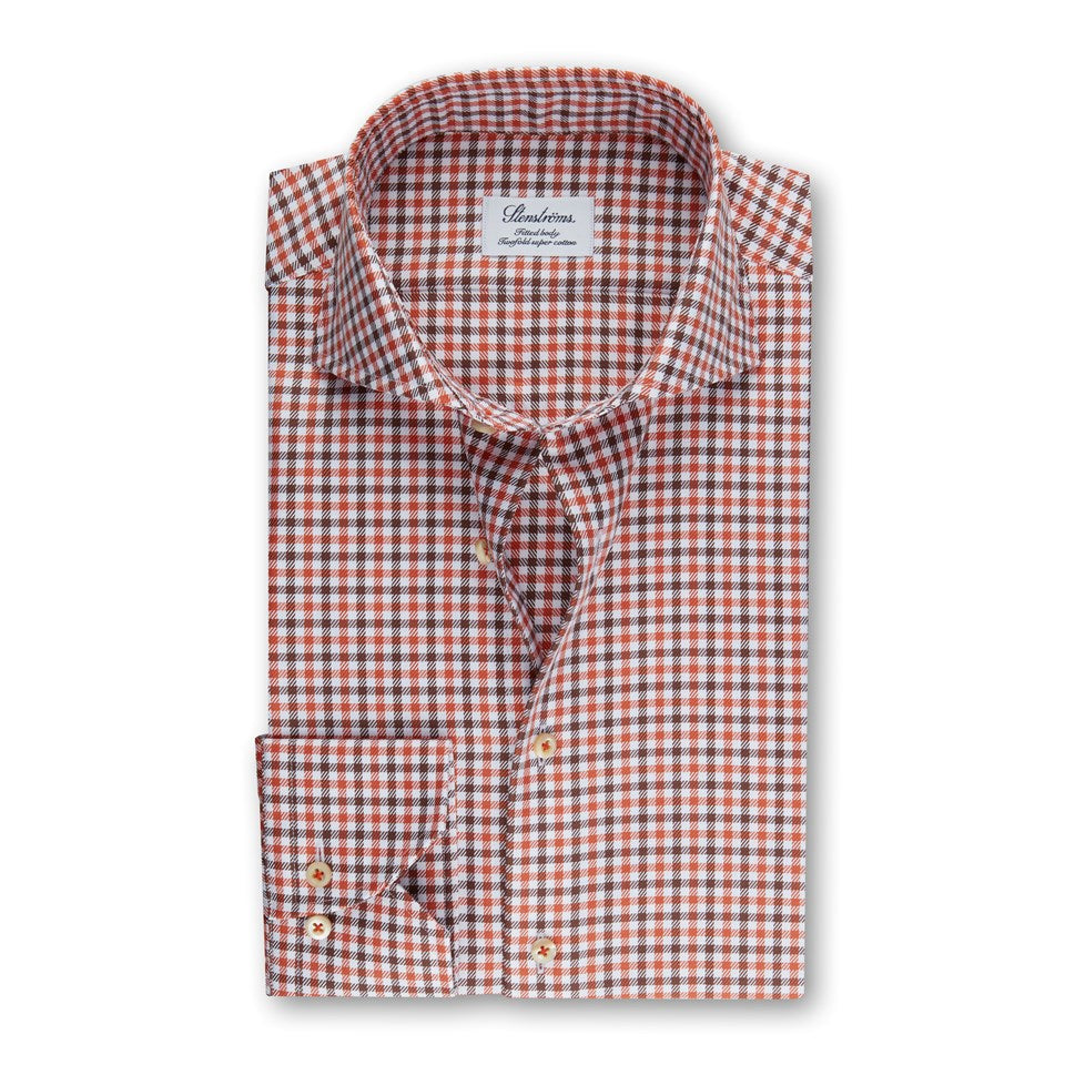 Orange & Brown Check Fitted Sport Shirt