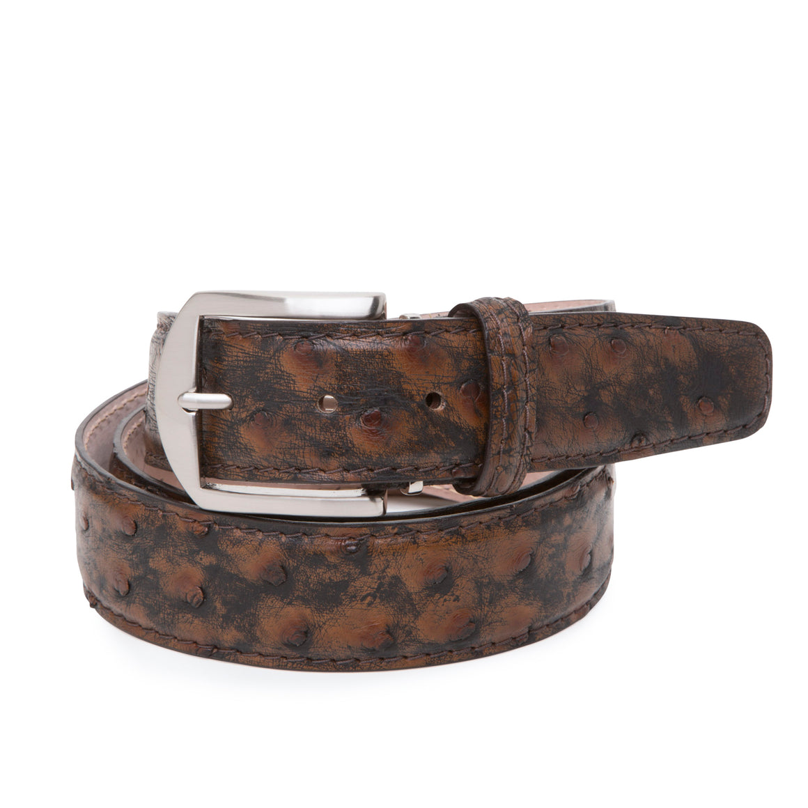 Genuine Ostrich Belt in Antique Bark