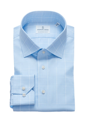 Mr. Crown Classic Fit Dress Shirt - Blue Glen Plaid