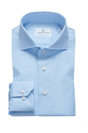 Harvard Modern Fit Fit Dress Shirt - Blue Mini Tattersall