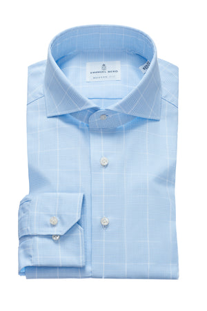 Harvard Modern Fit Fit Dress Shirt - Blue Glen Plaid