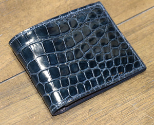 Glazed Alligator Bi-Fold Wallet - Navy