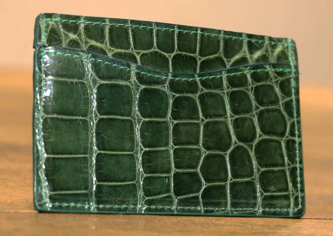 Glazed Alligator Flat Card Wallet