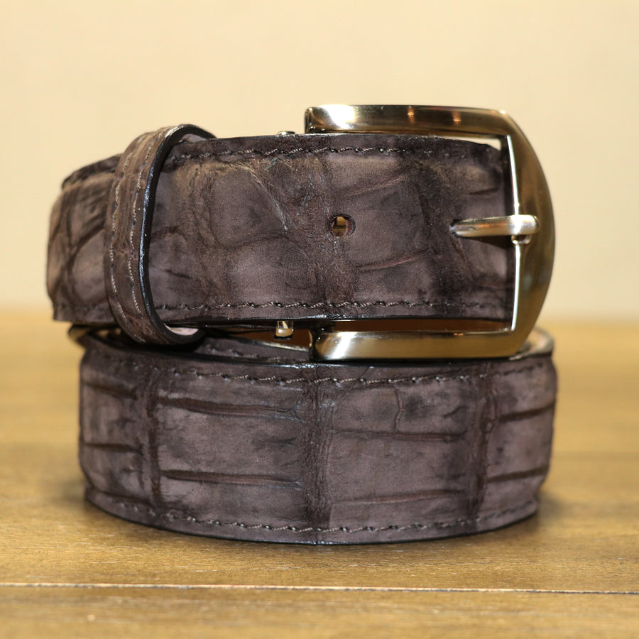 Buffed Alligator Belt - Brown
