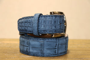 Buffed Alligator Belt - Navy