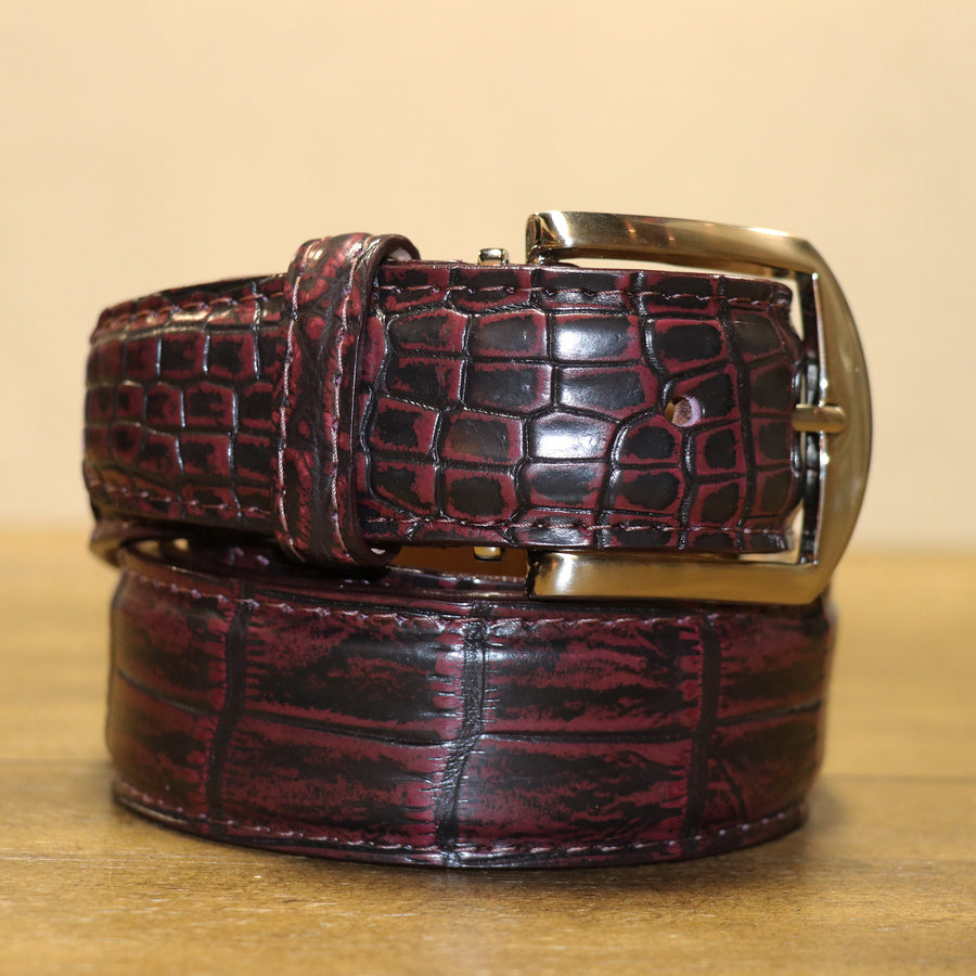 Two Tone Nile Crocodile Belt - Vintage Burgundy