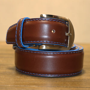 French Calf Belt in Chocolate with Denim Trim