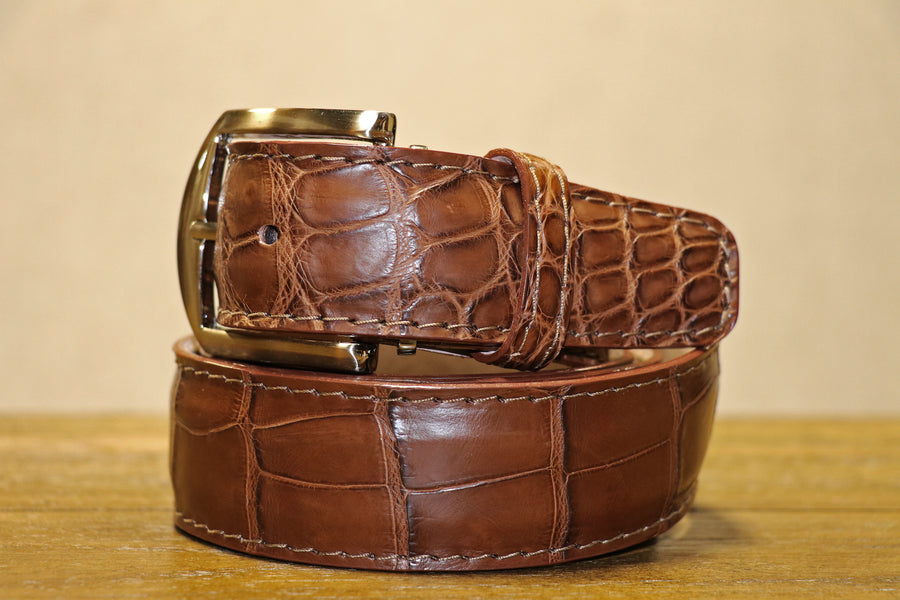 American Alligator Belt - Tobacco