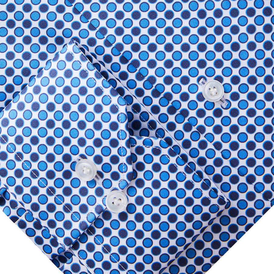 Blue & Navy Mini Dot Sport Shirt