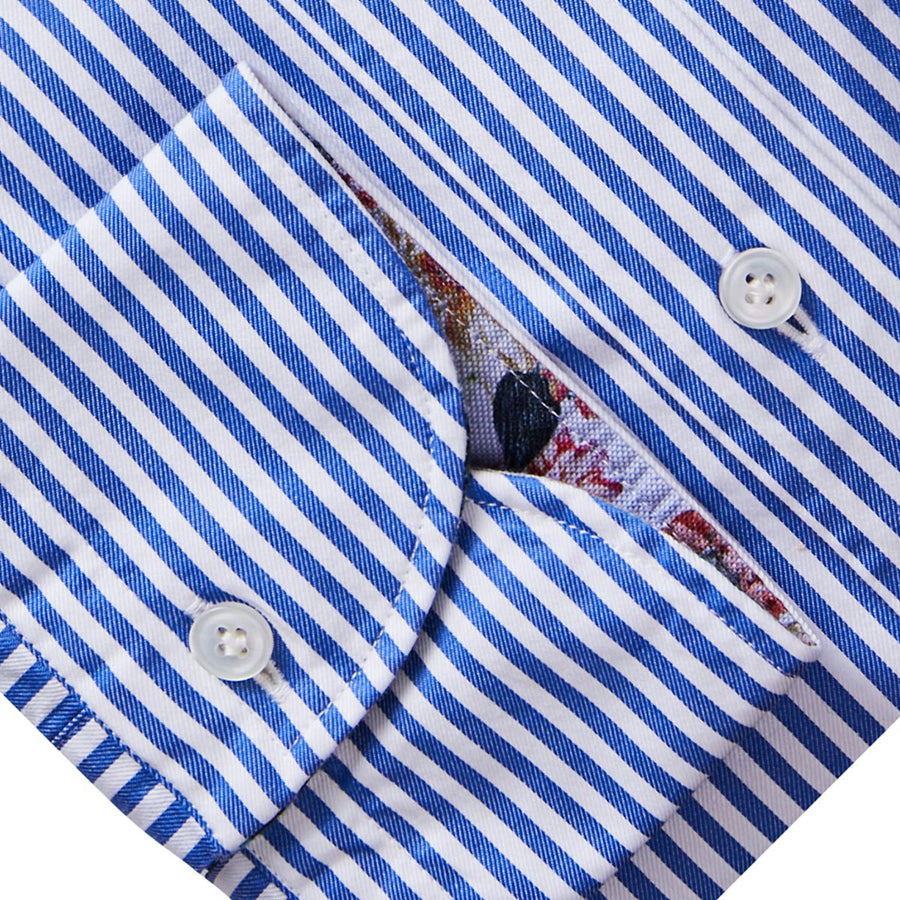 Blue Striped Sport Shirt w/ Contrast