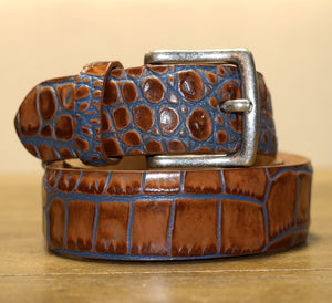 Two Tone Embossed Crocodile Belt - Tan/Blue