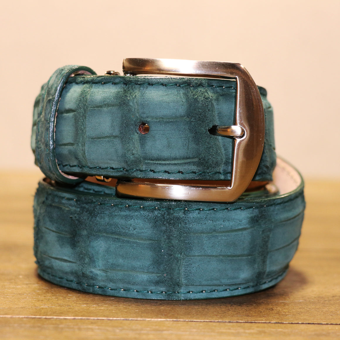 Buffed Alligator Belt - Sage