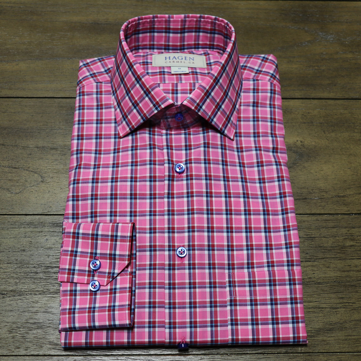 Hagen Pink Multi Plaid Sport Shirt