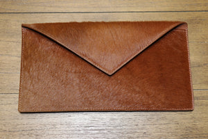 Hair Calf Slim Envelope Clutch in Cognac