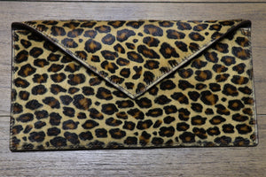 Hair Calf Slim Envelope Clutch in Leopard