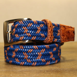 Two-Tone Leather Stretch Belt