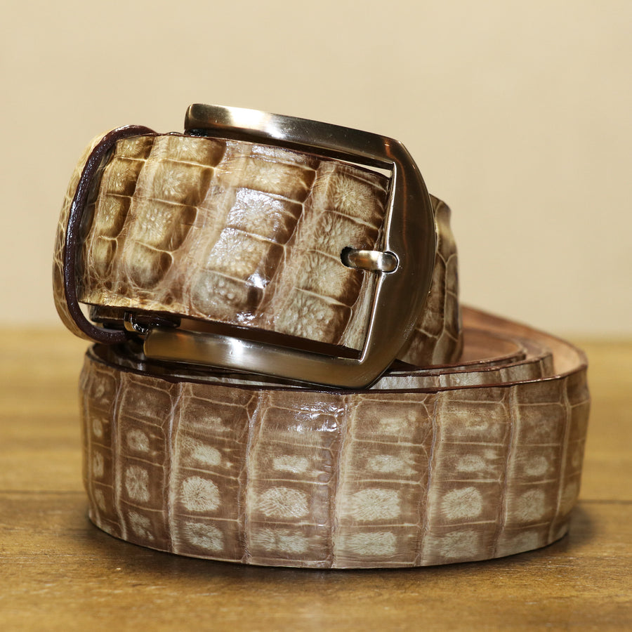 Caiman Crocodile Belt - Natural