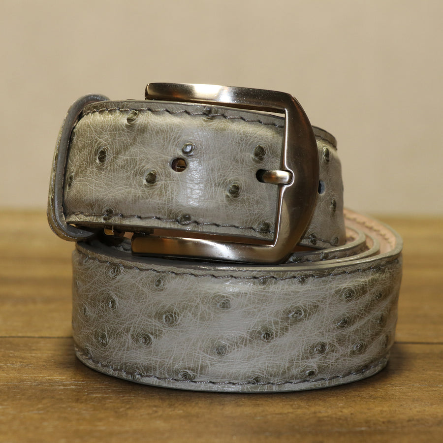 Genuine Ostrich Belt - Antique Grey