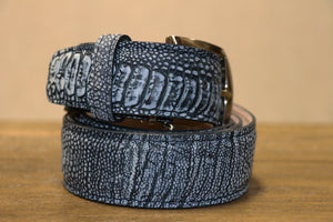 Stone-Washed Ostrich Leg Belt - Indigo