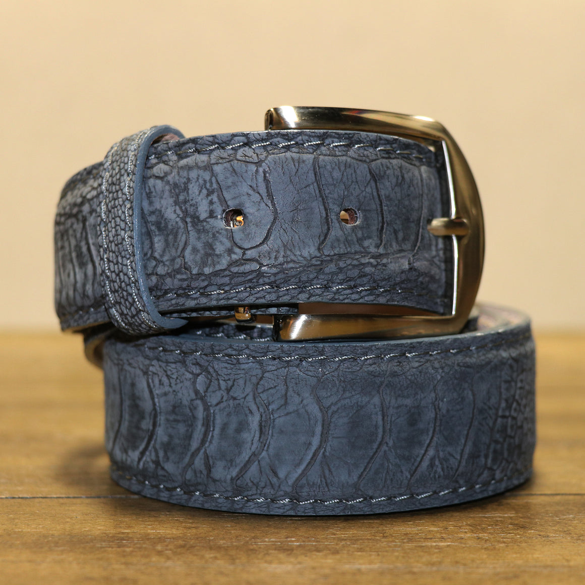Ostrich Leg Belt - Denim Blue