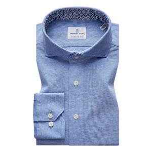French Blue Stretch Pique Sport Shirt w/ Contrast