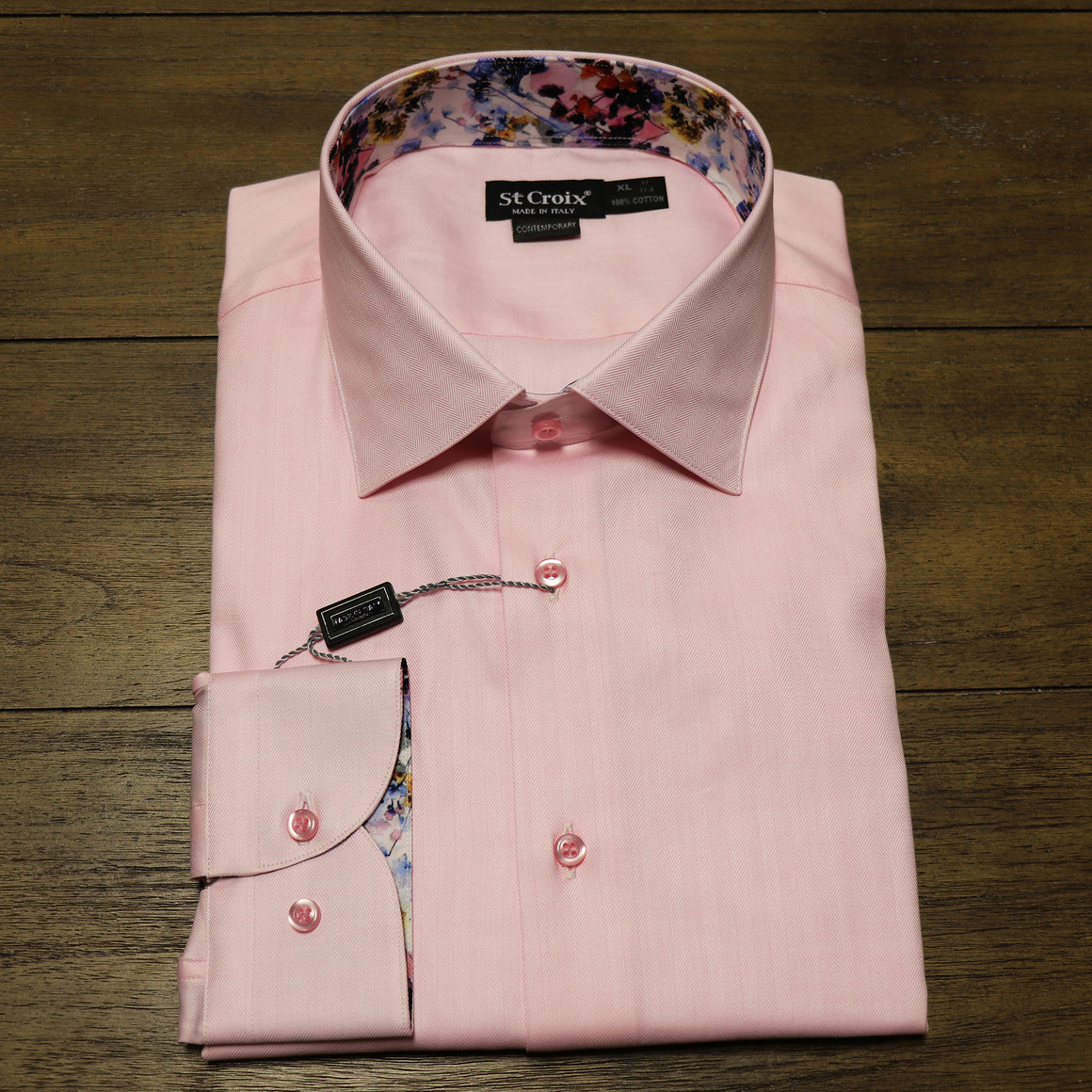 St. Croix Pink with Floral Trim Sport Shirt