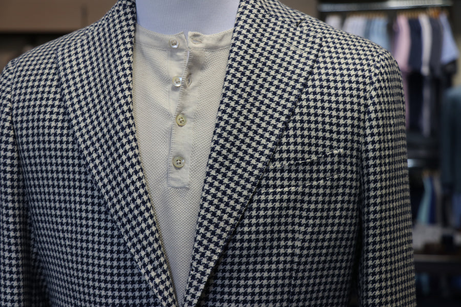 Navy/Beige Houndstooth Cotton-Linen Blazer