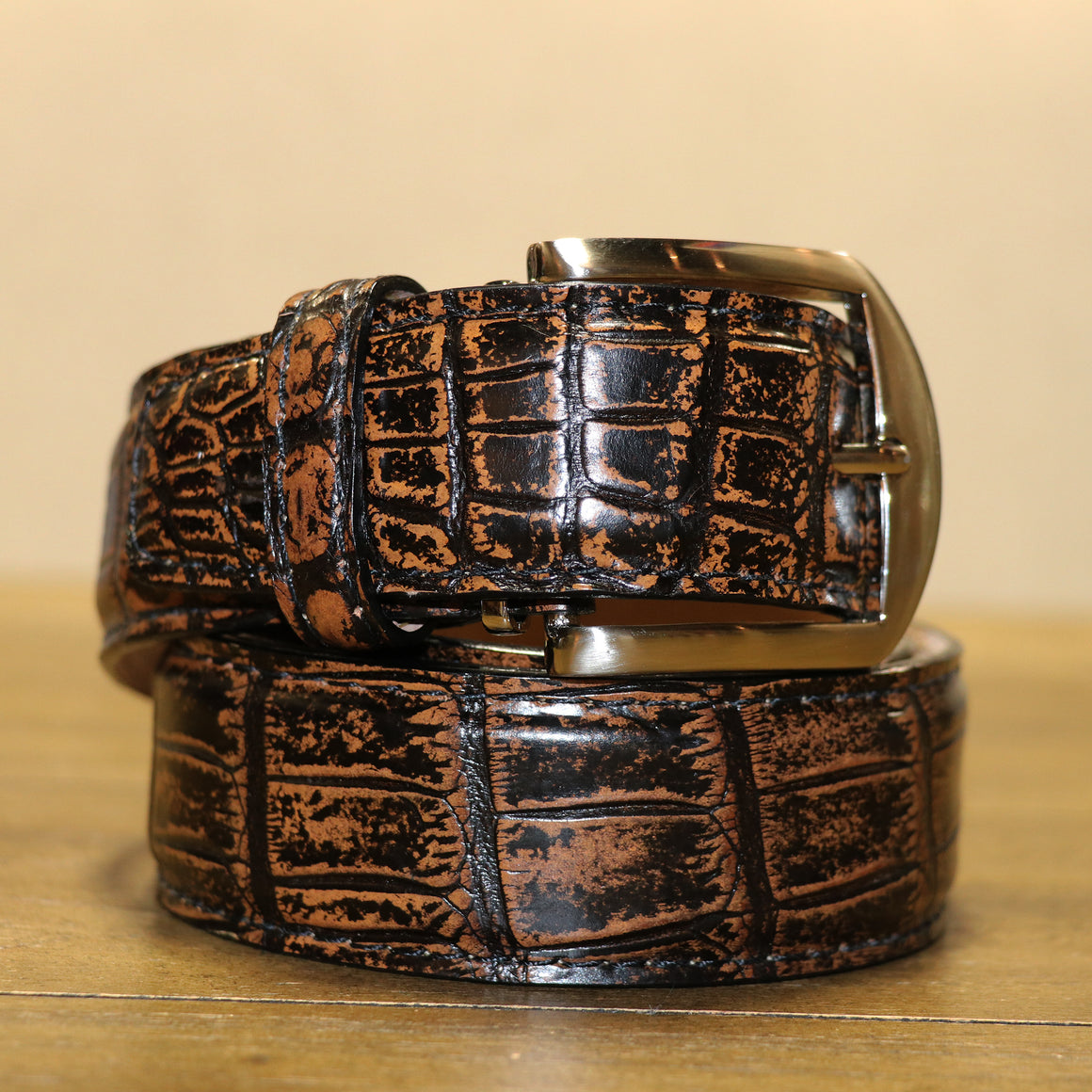 Two Tone Nile Crocodile Belt - Vintage Tan