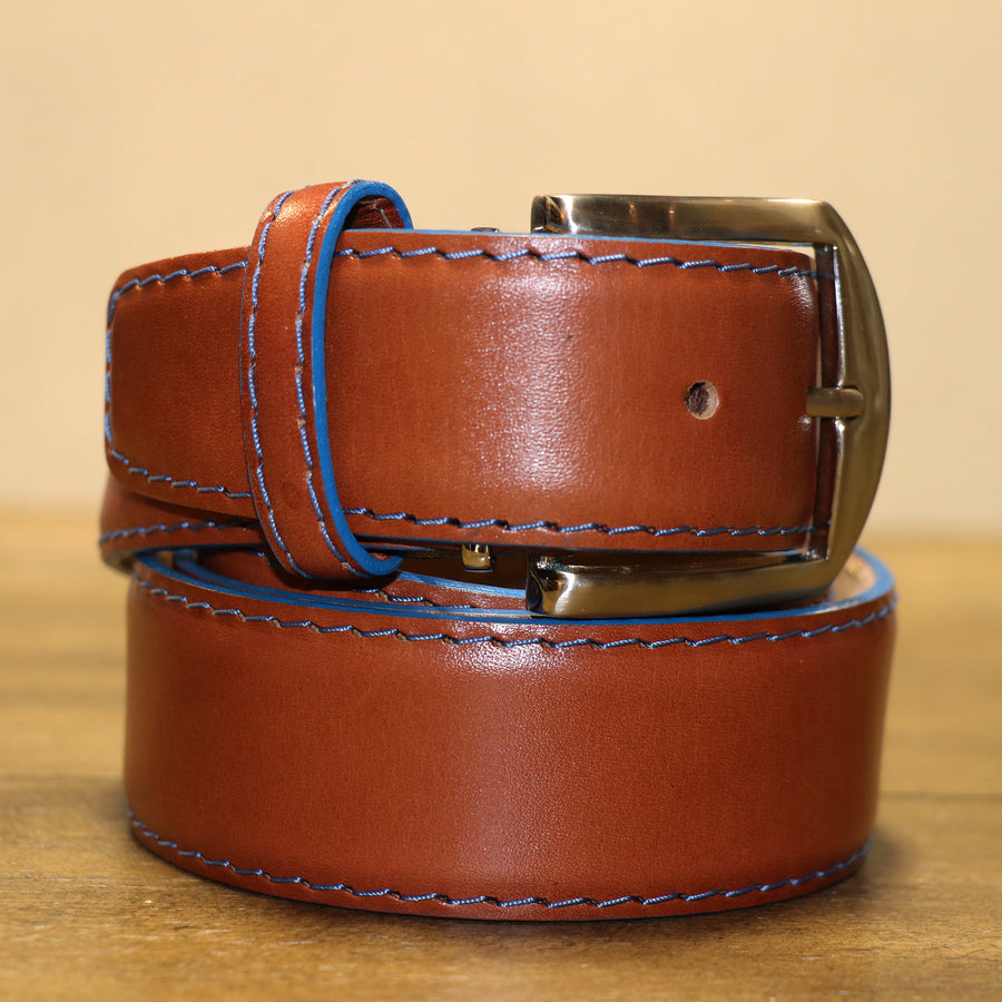French Calf Belt in Cognac with Denim Trim