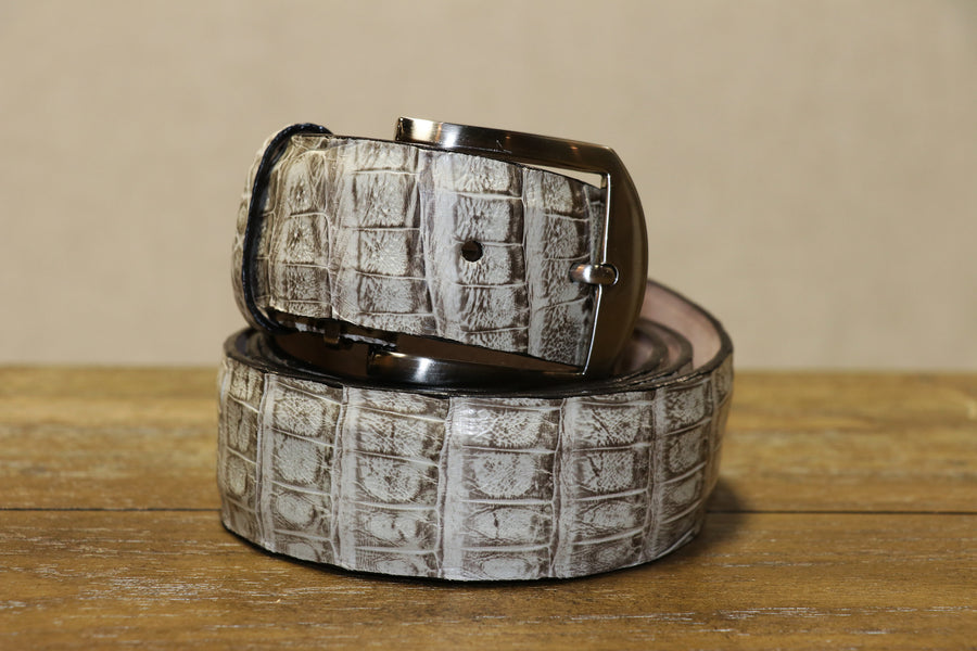 Caiman Crocodile Belt - Chalk