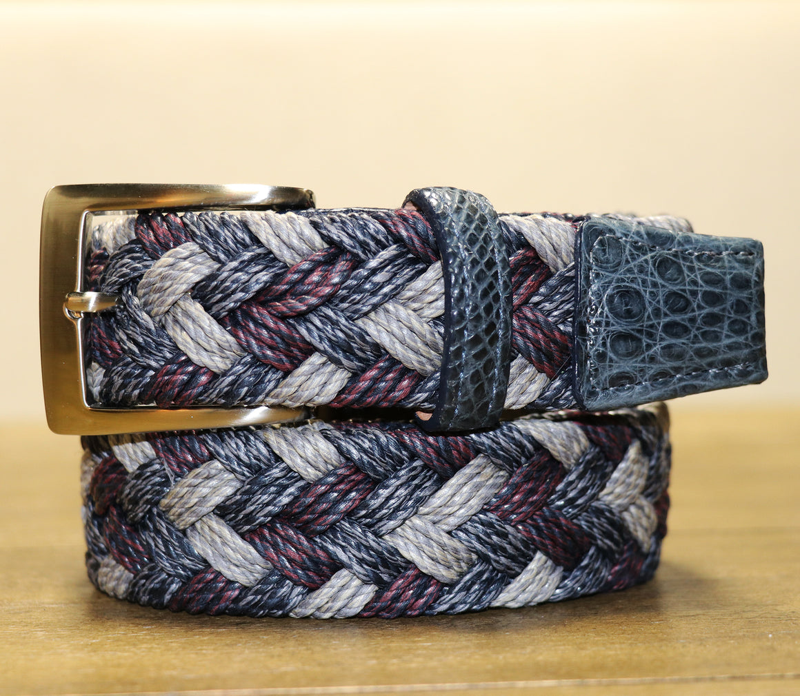 Cloth Weave Belt with Caiman Trim - Indigo