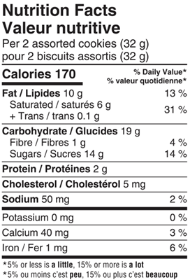 All Gold Cookie Assortment 450g Nutrition Facts Table Image
