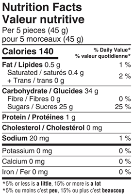 Aussie Style Soft Liquorice 200g Nutrition Facts Table Image