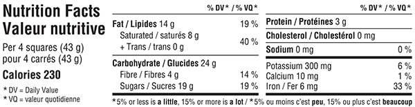 Belgian Dark Chocolate Bar 300g Nutrition Facts Table Image