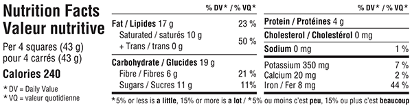 Belgian Extra Dark Chocolate Bar 300g Nutrition Facts Table Image