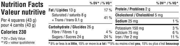 Belgian Milk Chocolate Bar 300g Nutrition Facts Table Image