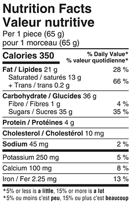Belgian Milk Chocolate Letters 65g Nutrition Facts Table Image
