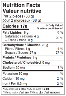 Cherry Cordials 175g Nutrition Facts Table Image