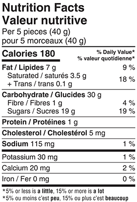 Creamy Toffee 180 Nutrition Facts Table Image