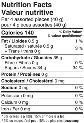 FunFactory Assorted Candy 150g Nutrition Facts Table Image