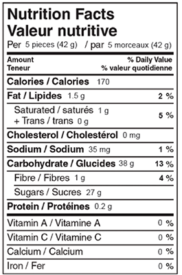 Mint Humbugs 200g Nutrition Facts Table Image